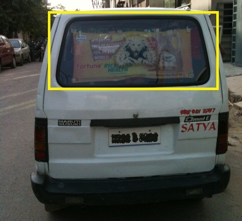 Foldable Rear Glass Advertisement