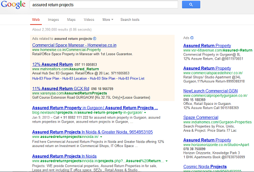 Assured Return Projects Search on Google