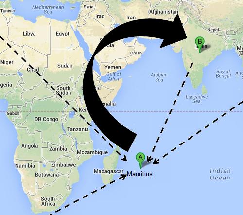 Virtual Routing to Mauritius Actual to India