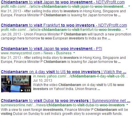 Chidambaram Visits to Woo Investment